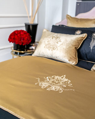 """Lotus Flower Embroidered"" gold bed runner"