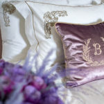 "Decorative pillow ""Leaves with letter"""